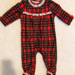 Little Me Baby Girl's Plaid Christmas Footie